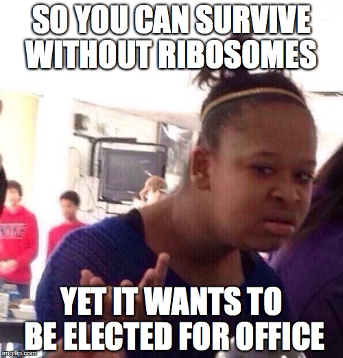 Black Girl Wat Meme | SO YOU CAN SURVIVE WITHOUT RIBOSOMES YET IT WANTS TO BE ELECTED FOR OFFICE | image tagged in memes,black girl wat | made w/ Imgflip meme maker