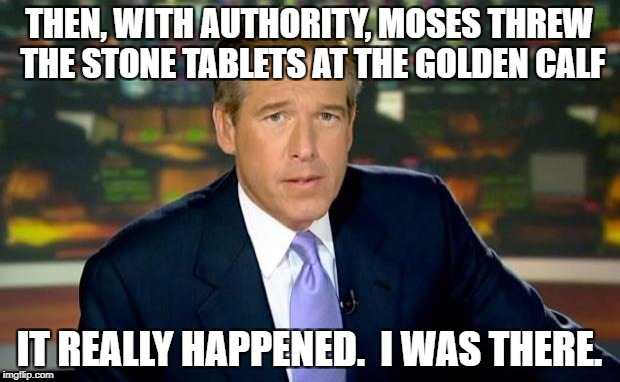 Brian Williams Was There Meme | THEN, WITH AUTHORITY, MOSES THREW THE STONE TABLETS AT THE GOLDEN CALF IT REALLY HAPPENED.  I WAS THERE. | image tagged in memes,brian williams was there | made w/ Imgflip meme maker