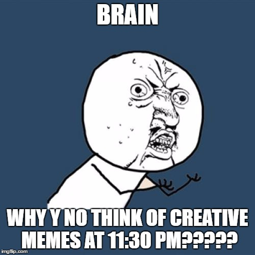Y U No Meme | BRAIN WHY Y NO THINK OF CREATIVE MEMES AT 11:30 PM????? | image tagged in memes,y u no | made w/ Imgflip meme maker