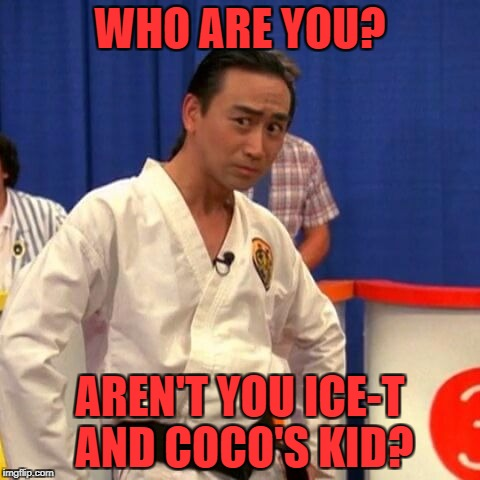 stupid you're so stupid | WHO ARE YOU? AREN'T YOU ICE-T AND COCO'S KID? | image tagged in stupid you're so stupid | made w/ Imgflip meme maker