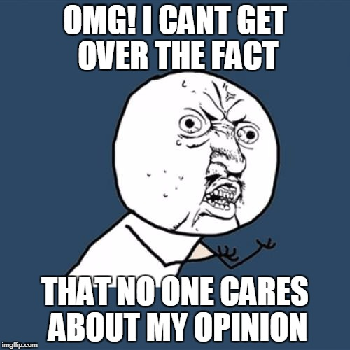 Y U No Meme | OMG! I CANT GET OVER THE FACT THAT NO ONE CARES ABOUT MY OPINION | image tagged in memes,y u no | made w/ Imgflip meme maker