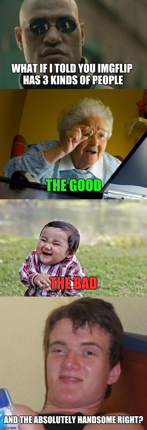 yeah, totally right..... |  WHAT IF I TOLD YOU IMGFLIP HAS 3 KINDS OF PEOPLE; THE GOOD; THE BAD; AND THE ABSOLUTELY HANDSOME RIGHT? | image tagged in what if i told you,grandma finds the internet,evil toddler,10 guy,memes,funny | made w/ Imgflip meme maker