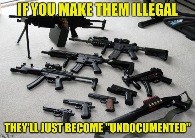 "guns | IF YOU MAKE THEM ILLEGAL THEY'LL JUST BECOME ""UNDOCUMENTED"" 