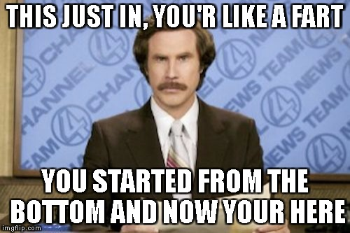 THE NEWS WITH A TWIST | THIS JUST IN, YOU'R LIKE A FART YOU STARTED FROM THE BOTTOM AND NOW YOUR HERE | image tagged in memes,ron burgundy | made w/ Imgflip meme maker