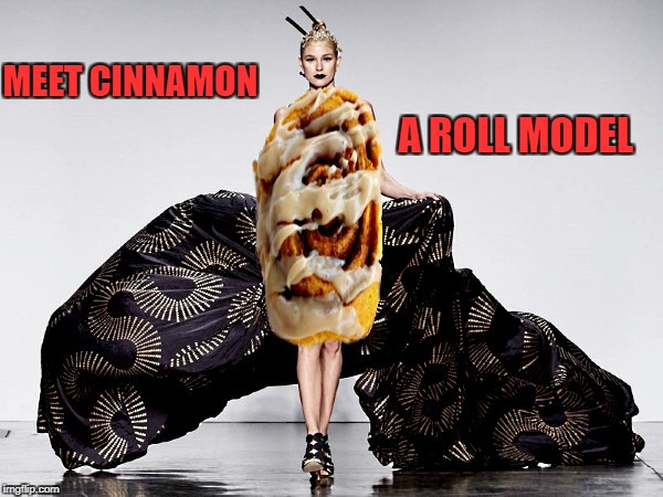 Roll model | MEET CINNAMON A ROLL MODEL | image tagged in bad puns | made w/ Imgflip meme maker