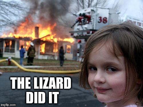 Disaster Girl Meme | THE LIZARD DID IT | image tagged in memes,disaster girl | made w/ Imgflip meme maker