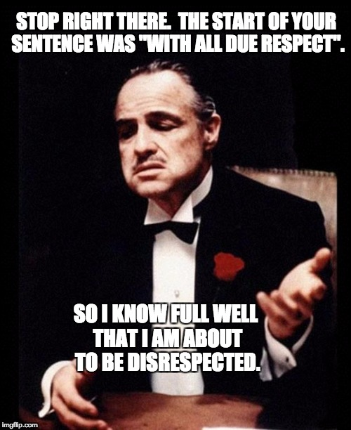 "godfather | STOP RIGHT THERE.  THE START OF YOUR SENTENCE WAS ""WITH ALL DUE RESPECT"". SO I KNOW FULL WELL THAT I AM ABOUT TO BE DISRESPECTED. 