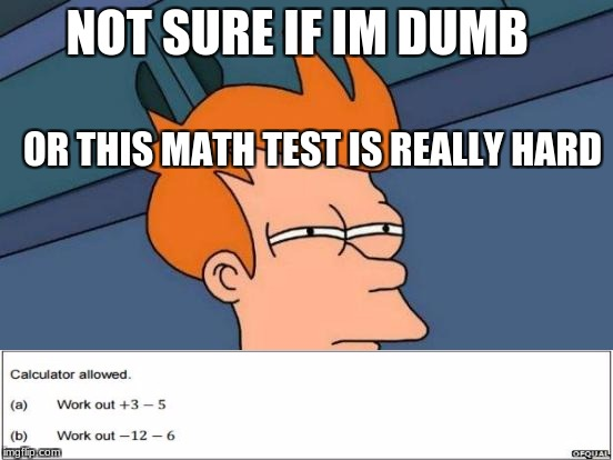 Futurama Fry Meme | NOT SURE IF IM DUMB OR THIS MATH TEST IS REALLY HARD | image tagged in memes,futurama fry | made w/ Imgflip meme maker