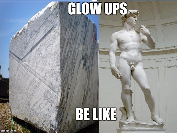 Michelangelo  | GLOW UPS BE LIKE | image tagged in david | made w/ Imgflip meme maker