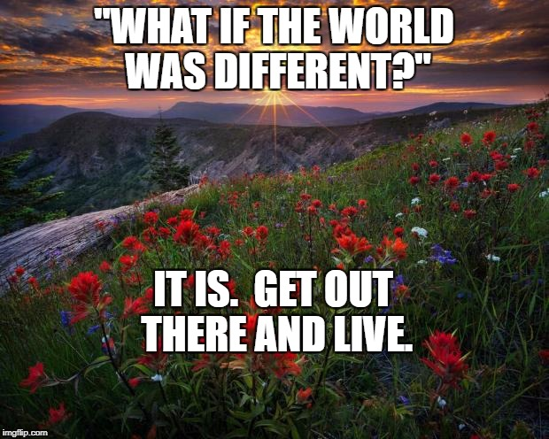 """WHAT IF THE WORLD WAS DIFFERENT?"" IT IS.  GET OUT THERE AND LIVE. 