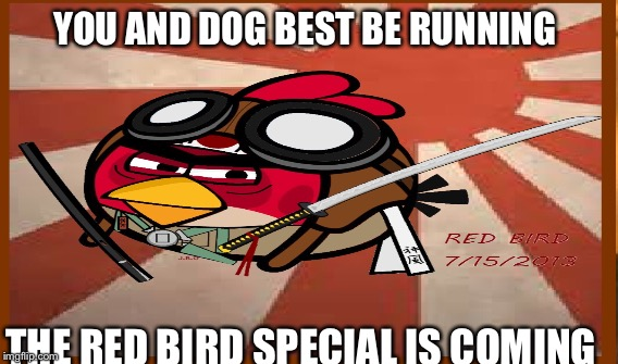 YOU AND DOG BEST BE RUNNING THE RED BIRD SPECIAL IS COMING | made w/ Imgflip meme maker
