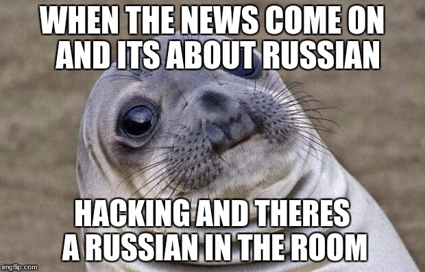 Awkward Moment Sealion Meme | WHEN THE NEWS COME ON  AND ITS ABOUT RUSSIAN HACKING AND THERES A RUSSIAN IN THE ROOM | image tagged in memes,awkward moment sealion | made w/ Imgflip meme maker