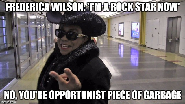 idiots | FREDERICA WILSON: 'I'M A ROCK STAR NOW' NO, YOU'RE OPPORTUNIST PIECE OF GARBAGE | image tagged in stupid liberals,evil,congress,retarded liberal protesters,triggered liberal | made w/ Imgflip meme maker