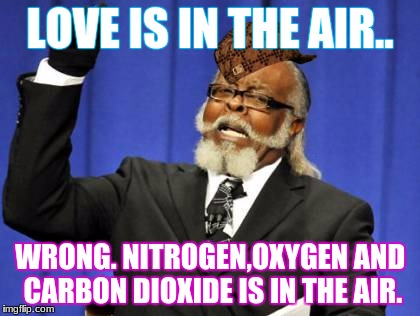 Too Damn High Meme | LOVE IS IN THE AIR.. WRONG. NITROGEN,OXYGEN AND CARBON DIOXIDE IS IN THE AIR. | image tagged in memes,too damn high,scumbag | made w/ Imgflip meme maker