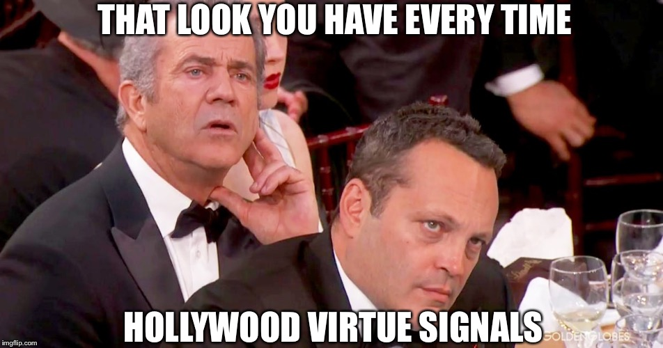 Mel Gibson and Vince Vaughn not impressed  | THAT LOOK YOU HAVE EVERY TIME HOLLYWOOD VIRTUE SIGNALS | image tagged in mel gibson,vince vaughn,not impressed,hollywood,meme | made w/ Imgflip meme maker
