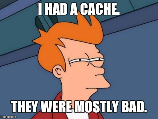 Futurama Fry Meme | I HAD A CACHE. THEY WERE MOSTLY BAD. | image tagged in memes,futurama fry | made w/ Imgflip meme maker