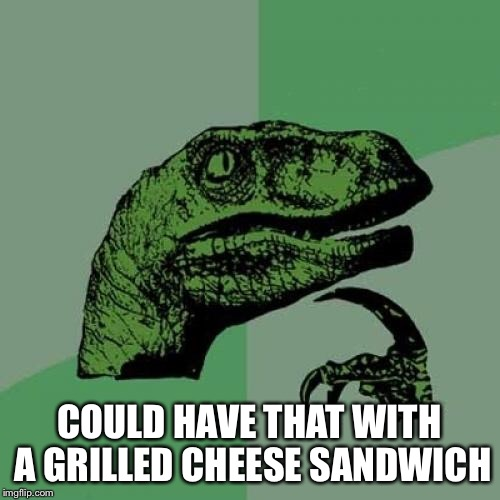 Philosoraptor Meme | COULD HAVE THAT WITH A GRILLED CHEESE SANDWICH | image tagged in memes,philosoraptor | made w/ Imgflip meme maker