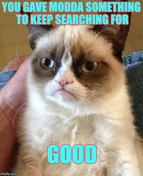 Grumpy Cat Meme | YOU GAVE MODDA SOMETHING TO KEEP SEARCHING FOR GOOD | image tagged in memes,grumpy cat | made w/ Imgflip meme maker
