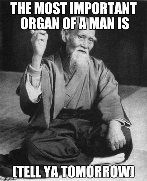 Confucius say | THE MOST IMPORTANT ORGAN OF A MAN IS (TELL YA TOMORROW) | image tagged in confucius say | made w/ Imgflip meme maker