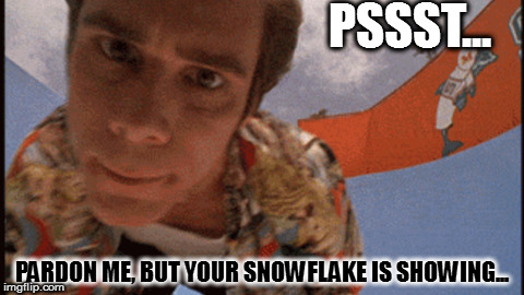 Oh Balls! | PSSST... PARDON ME, BUT YOUR SNOWFLAKE IS SHOWING... | image tagged in ace ventura,snowflakes,pardon me,jim carrey | made w/ Imgflip meme maker