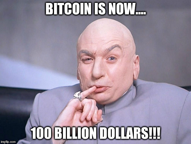 100 Billion |  BITCOIN IS NOW.... 100 BILLION DOLLARS!!! | image tagged in bitcoin,dr evil | made w/ Imgflip meme maker