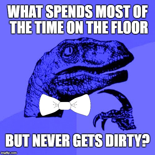 ωнαт ιѕ ιт? ✍(◔◡◔) | WHAT SPENDS MOST OF THE TIME ON THE FLOOR BUT NEVER GETS DIRTY? | image tagged in philosoraptor blue craziness,philosoraptor,riddles and brainteasers,riddle,craziness_all_the_way,memes | made w/ Imgflip meme maker