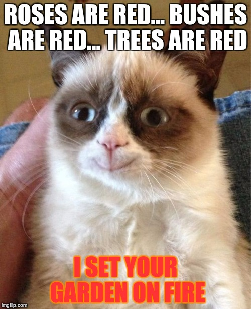 Grumpy Cat Happy | ROSES ARE RED... BUSHES ARE RED... TREES ARE RED I SET YOUR GARDEN ON FIRE | image tagged in memes,grumpy cat happy,grumpy cat | made w/ Imgflip meme maker