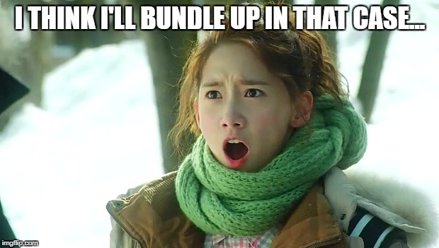 Angry Yoona | I THINK I'LL BUNDLE UP IN THAT CASE... | image tagged in angry yoona | made w/ Imgflip meme maker
