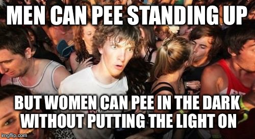 Sudden Clarity Clarence Meme | MEN CAN PEE STANDING UP BUT WOMEN CAN PEE IN THE DARK WITHOUT PUTTING THE LIGHT ON | image tagged in memes,sudden clarity clarence | made w/ Imgflip meme maker