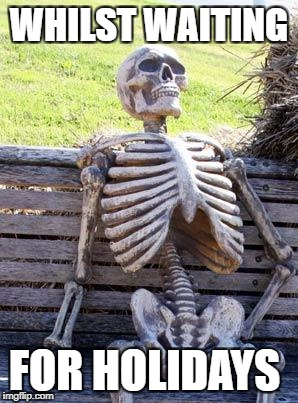 Waiting Skeleton Meme | WHILST WAITING FOR HOLIDAYS | image tagged in memes,waiting skeleton | made w/ Imgflip meme maker
