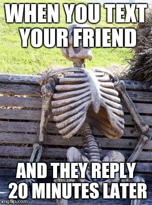 Waiting Skeleton Meme | WHEN YOU TEXT YOUR FRIEND AND THEY REPLY 20 MINUTES LATER | image tagged in memes,waiting skeleton | made w/ Imgflip meme maker