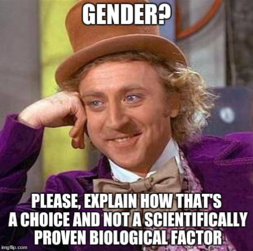 Creepy Condescending Wonka Meme | GENDER? PLEASE, EXPLAIN HOW THAT'S A CHOICE AND NOT A SCIENTIFICALLY PROVEN BIOLOGICAL FACTOR | image tagged in memes,creepy condescending wonka | made w/ Imgflip meme maker