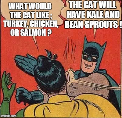 Batman Slapping Robin Meme | WHAT WOULD THE CAT LIKE ; TURKEY, CHICKEN, OR SALMON ? THE CAT WILL HAVE KALE AND BEAN SPROUTS ! | image tagged in memes,batman slapping robin | made w/ Imgflip meme maker
