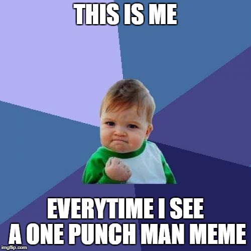 Success Kid Meme | THIS IS ME EVERYTIME I SEE A ONE PUNCH MAN MEME | image tagged in memes,success kid | made w/ Imgflip meme maker
