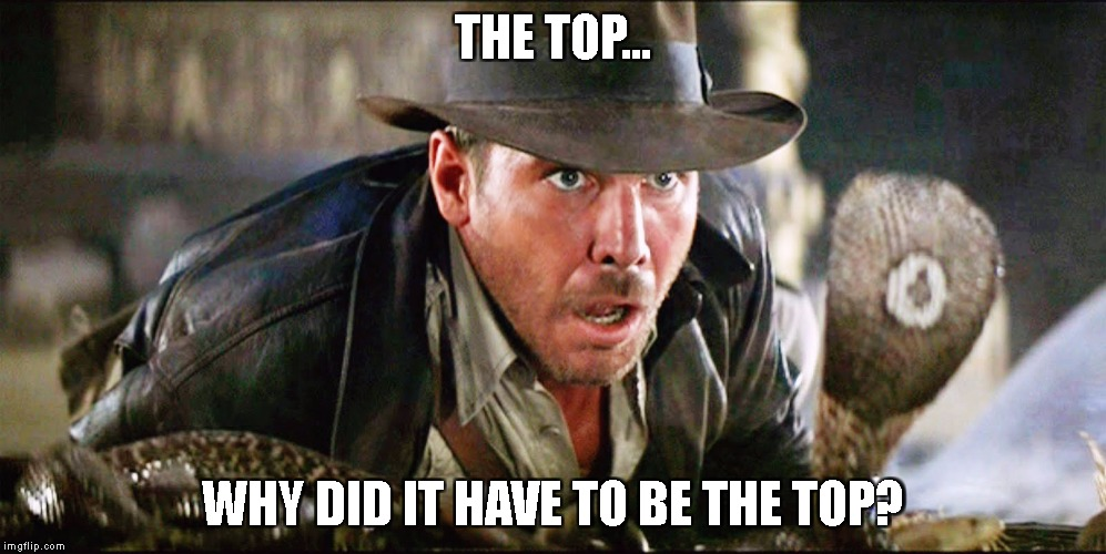 Indiana Jones Snakes |  THE TOP... WHY DID IT HAVE TO BE THE TOP? | image tagged in indiana jones snakes | made w/ Imgflip meme maker