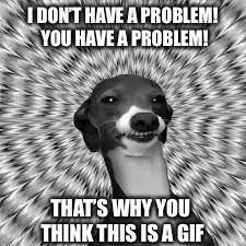 I DON'T HAVE A PROBLEM! YOU HAVE A PROBLEM! THAT'S WHY YOU THINK THIS IS A GIF | made w/ Imgflip meme maker