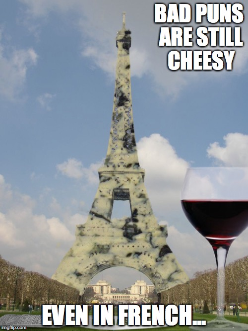 Paris Stilton | BAD PUNS ARE STILL CHEESY EVEN IN FRENCH... | image tagged in paris,memes | made w/ Imgflip meme maker