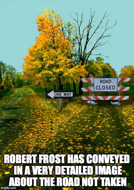 The Road Not Taken | ROBERT FROST HAS CONVEYED IN A VERY DETAILED IMAGE ABOUT THE ROAD NOT TAKEN | image tagged in road,memes | made w/ Imgflip meme maker