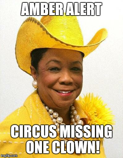 AMBER ALERT CIRCUS MISSING ONE CLOWN! | image tagged in frederica wilson | made w/ Imgflip meme maker