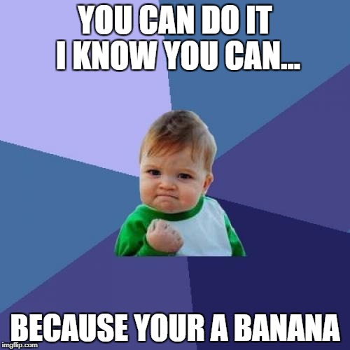 Success Kid Meme | YOU CAN DO IT I KNOW YOU CAN... BECAUSE YOUR A BANANA | image tagged in memes,success kid | made w/ Imgflip meme maker