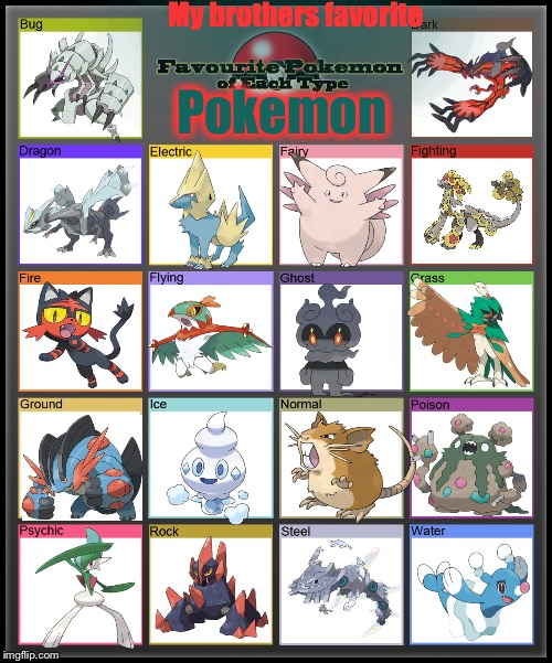 Favorite Pokemon of each type | My brothers favorite Pokemon | image tagged in favorite pokemon of each type | made w/ Imgflip meme maker