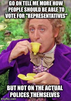 "Tell Me More... | GO ON TELL ME MORE HOW PEOPLE SHOULD BE ABLE TO VOTE FOR ""REPRESENTATIVES"" BUT NOT ON THE ACTUAL POLICES THEMSELVES 
