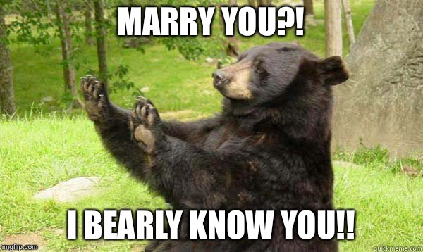 Marrying someone you bearly know | MARRY YOU?! I BEARLY KNOW YOU!! | image tagged in how about no bear | made w/ Imgflip meme maker