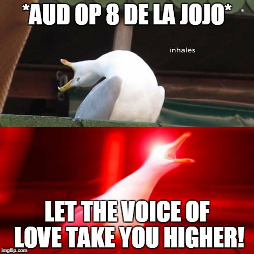 *AUD OP 8 DE LA JOJO* LET THE VOICE OF LOVE TAKE YOU HIGHER! | image tagged in inhaling bird meme | made w/ Imgflip meme maker