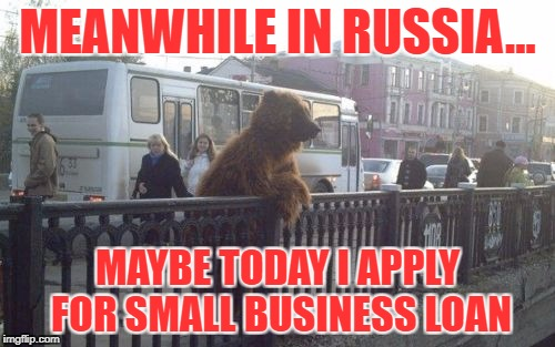 Russian City Bear | MEANWHILE IN RUSSIA... MAYBE TODAY I APPLY FOR SMALL BUSINESS LOAN | image tagged in memes,city bear | made w/ Imgflip meme maker