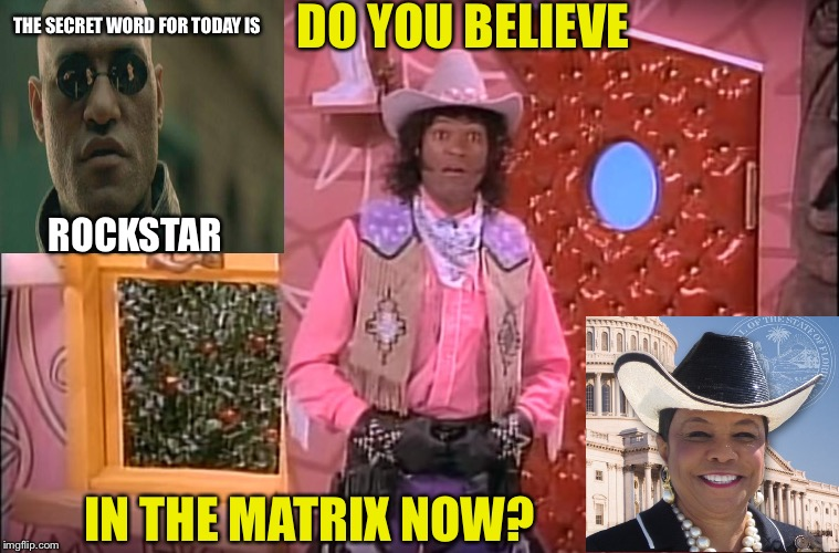 Frederica Wilson | DO YOU BELIEVE IN THE MATRIX NOW? THE SECRET WORD FOR TODAY IS ROCKSTAR | image tagged in frederica wilson | made w/ Imgflip meme maker
