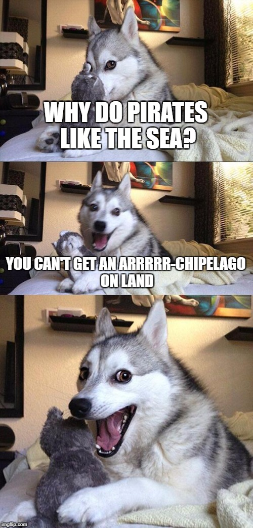 I've got a million more pirate puns where that came from! | WHY DO PIRATES LIKE THE SEA? YOU CAN'T GET AN ARRRRR-CHIPELAGO ON LAND | image tagged in memes,bad pun dog,pirates | made w/ Imgflip meme maker