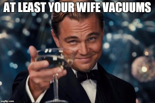 Leonardo Dicaprio Cheers Meme | AT LEAST YOUR WIFE VACUUMS | image tagged in memes,leonardo dicaprio cheers | made w/ Imgflip meme maker