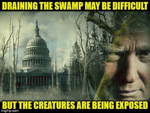 Drain The Swamp |  DRAINING THE SWAMP MAY BE DIFFICULT; BUT THE CREATURES ARE BEING EXPOSED | image tagged in drain the swamp,trump,memes,creature from black lagoon,exposed | made w/ Imgflip meme maker