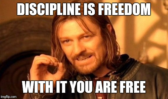 One Does Not Simply Meme | DISCIPLINE IS FREEDOM WITH IT YOU ARE FREE | image tagged in memes,one does not simply | made w/ Imgflip meme maker